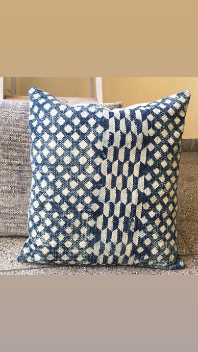 Diamonds in Indigo Dhurrie Cushion