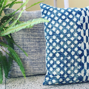 Stars in Indigo Dhurrie Hand block printed Cushion