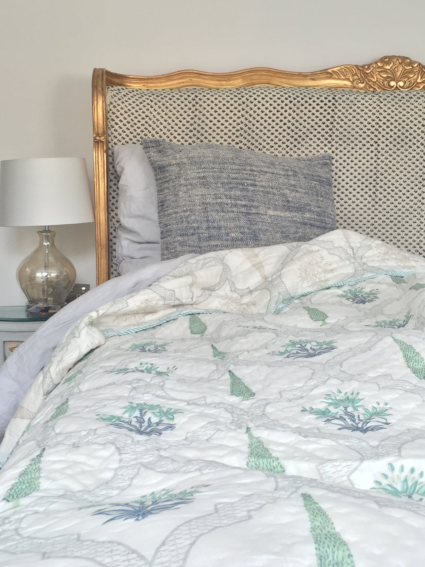 Green Eucalyptus with Jaal Hand Block Printed Blanket