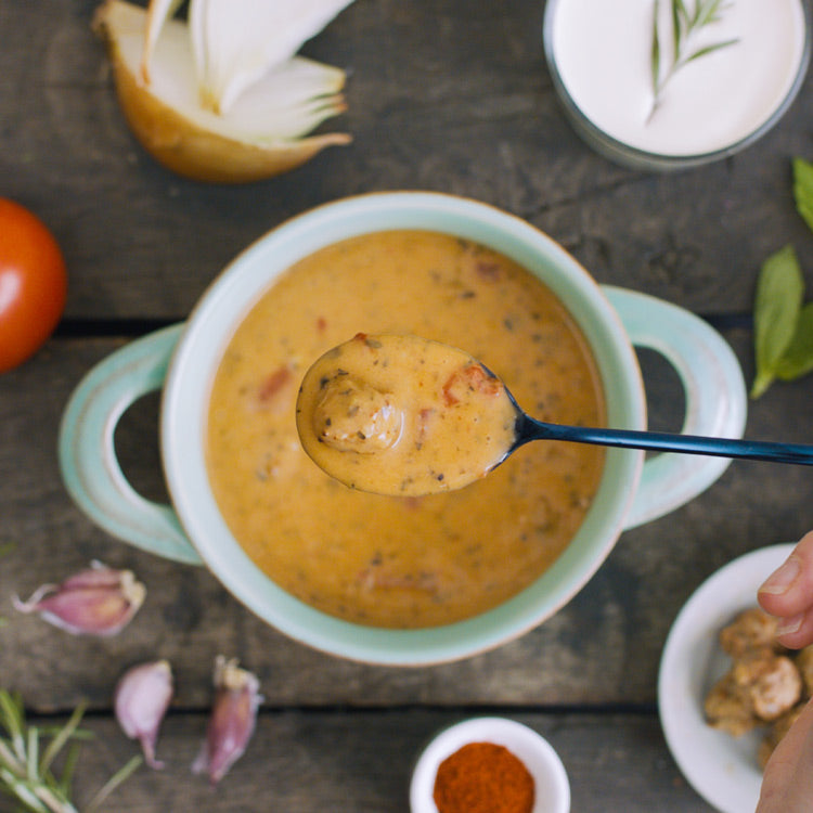 Sweet Red Pepper & Meatball Soup - Proper Soup