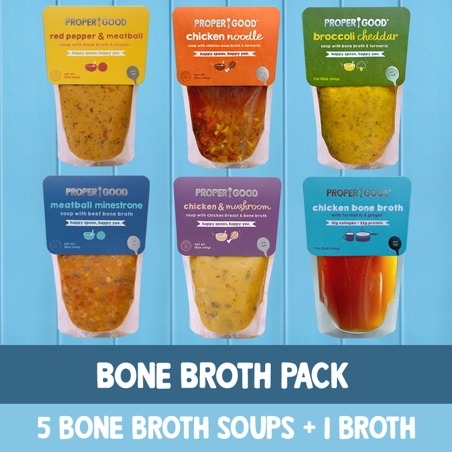 Bone Broth Pack - 1 Chicken Mushroom, 1 Red Pepper, 1 Minestrone, 1 Chicken Broth, 1 Broccoli, 1 Chicken Noodle - Proper Soup