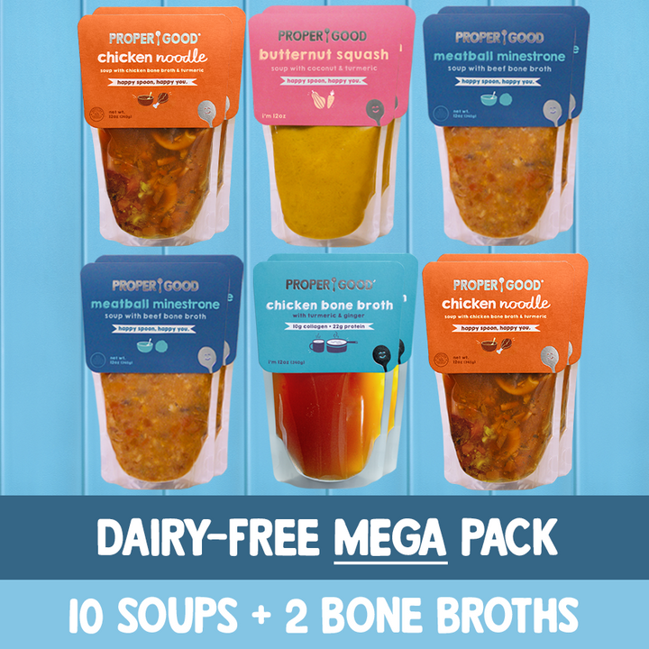 Dairy Free Mega Pack - 4 Chicken Noodle, 4 Minestrone, 2 Squash, 2 Chicken Broth - Proper Good