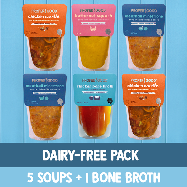 Dairy Free Pack - 2 Chicken Noodle, 2 Minestrone, 1 Squash, 1 Chicken Broth - Proper Good