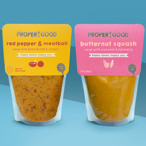 2 Pack GIFT BOX - Gluten Free - 1 Red Pepper & Meatball, 1 Butternut Squash, 1 Spoon - Proper Good