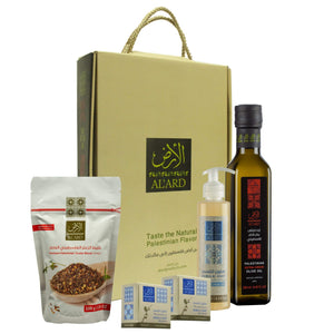 Al'ard Products  AL'ARD GIFT BOX ( EXTRA VIRGIN OLIVE OIL 250ML+ 2 PREMIUM NABULSI SOAP 150G + Olive Oil Liquid Soap 250ml/8.45 FL.OZ +PREMIUM ZA'ATAR BLEND 100g)