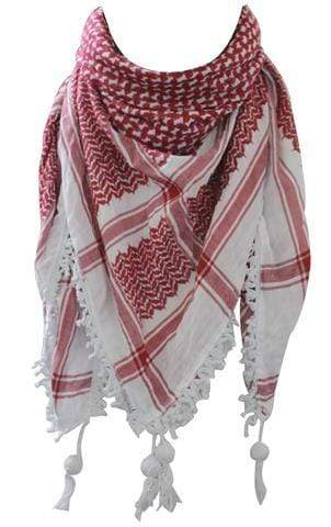 Al'ard Products  Original Hirbawi ® Red and White Kufiya (Made in Palestine)