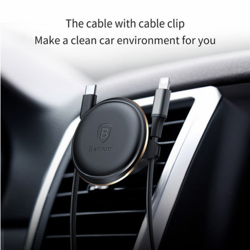 Baseus - Chargeur Allume Cigare avec double USB Magnetic Air Vent Phone Holder with Cable clip