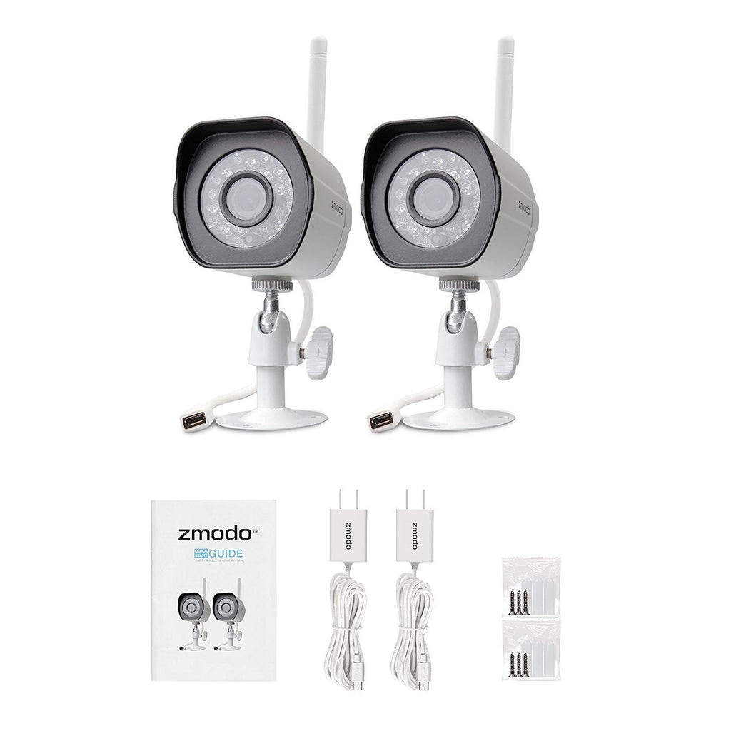 Zmodo Wireless Security Camera System (2 Pack) , Smart Home HD Indoor  Outdoor WiFi IP Cameras with Night Vision, 1-month Free Cloud Recording