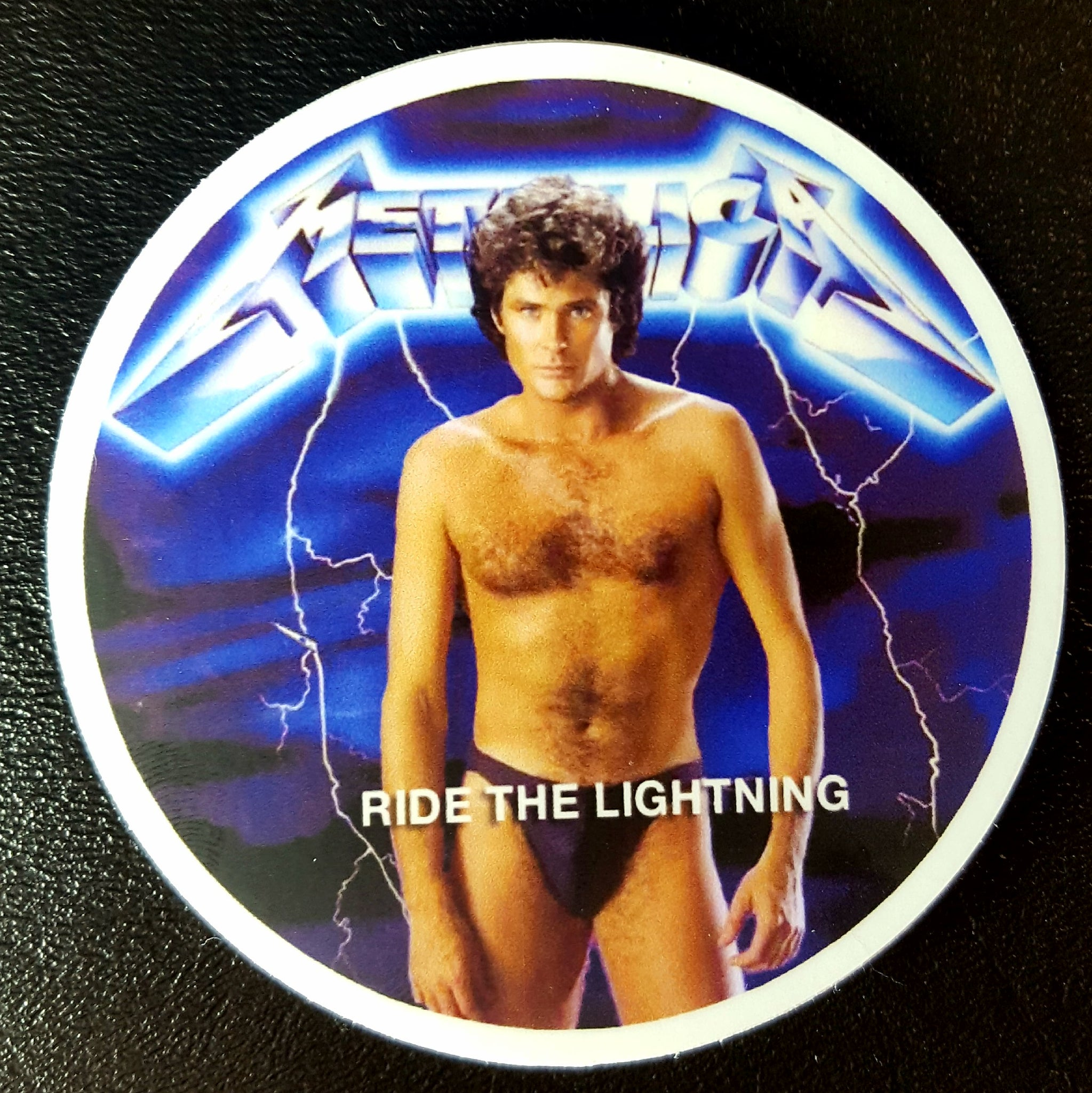 "Ride the Hasselhoff Lightning  3"" Circle Vinyl Sticker"