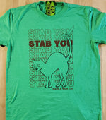 Load image into Gallery viewer, Stab You, Stabby Cat T-shirt Groovy Green