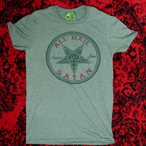 Converse style Satanic Hail T-shirt Heather Olive