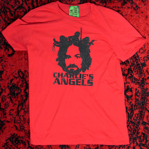 Charles manson's Angels Black Glitter on Red T-shirt