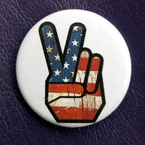Distressed Flag Peace Hand1.25 inch Pinback Button or Magnet
