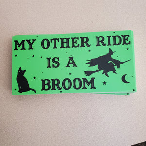 My Other Ride is a Broom Mini Bumper Sticker