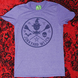 Black Cat Witch Circle Logo T-shirt Heather Purple
