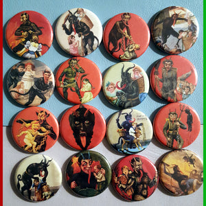 The Krampus Set! All 16!    1.25 inch Pinback Buttons or Magnets