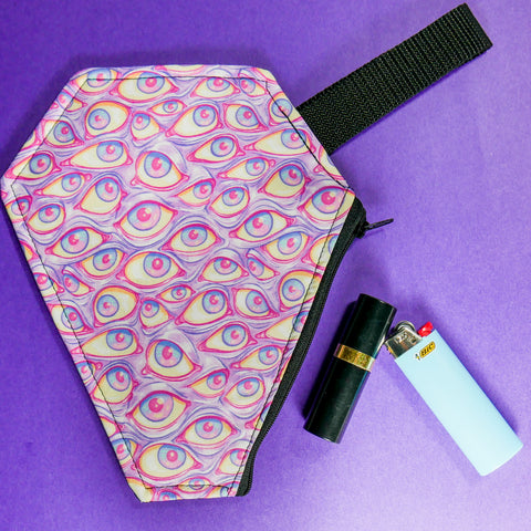 pink eyeball print coffin pouch