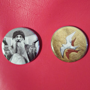 "Bhagwan Shree Rajneesh ""Osho"" 1.25 inch Pinback Buttons or Magnets"