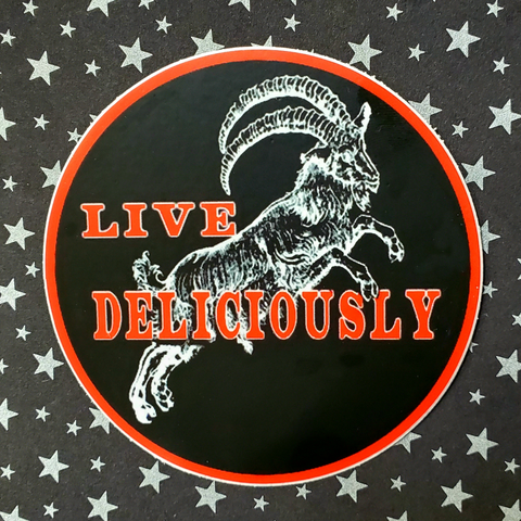 "Live Deliciously Black Phillip  3"" Vinyl Sticker"