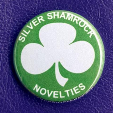 Halloween 3 Silver Shamrock Logo 1.25 inch Pinback Button or Magnet