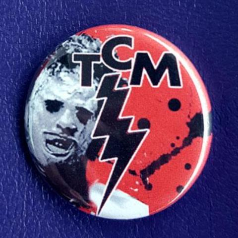 TCM Baby! Texas Chainsaw Massacre Leatherface Logo 1.25 inch Pinback Button or Magnet