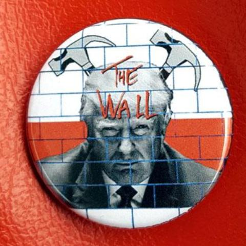 "Trump ""the Wall"" 1.25 inch Pinback Button or Magnet"