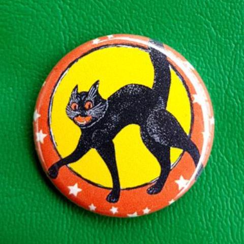 Halloween Kitten Classic 1.25 inch Pinback Button or Magnet