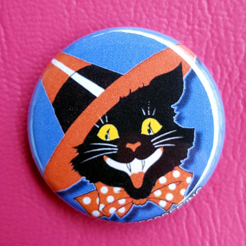 Halloween Black Cat with a Sharp Hat  Vintage Vibe 1.25 inch Pinback Button or Magnet