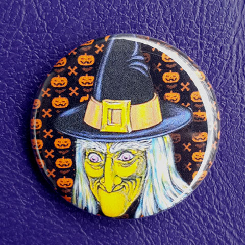 Halloween Grinning Witch Vintage Vibe 1.25 inch Pinback Button or Magnet
