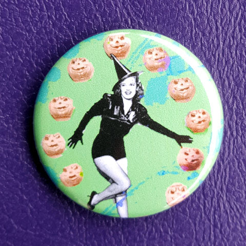 Witch Pin-Up #2 Vintage Vibe 1.25 inch Pinback Button or Magnet