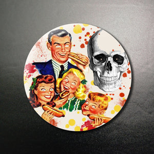 Family Eating Hotdogs 1.25 inch Pinback Button or Magnet