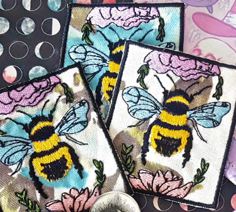 Embroidered Bumble Bee on Floral Canvas Iron on Patch