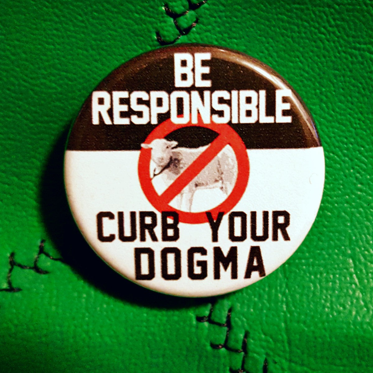 Curb your Dogma 1.25 inch Pinback Button or Magnet