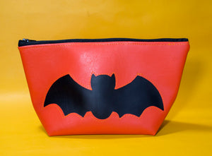 Orange Halloween Bat Pouch
