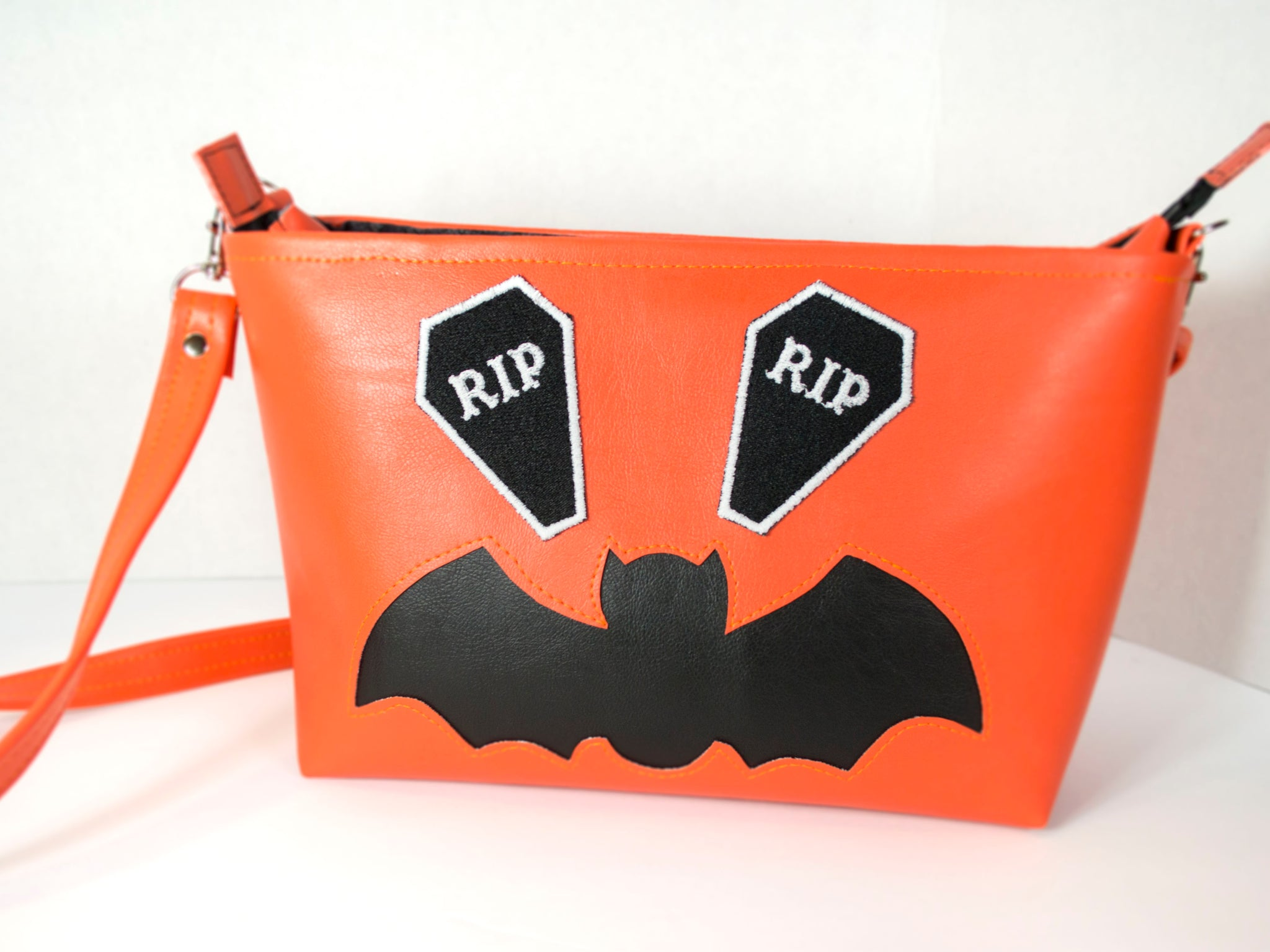 Halloween Orange and Black Zipper Tote with Bat and Coffins
