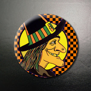 Halloween Witch Profile1.25 inch Pinback Button or Magnet