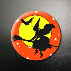 Halloween Witch Sky Sweep Vintage Vibe 1.25 inch Pinback Button or Magnet