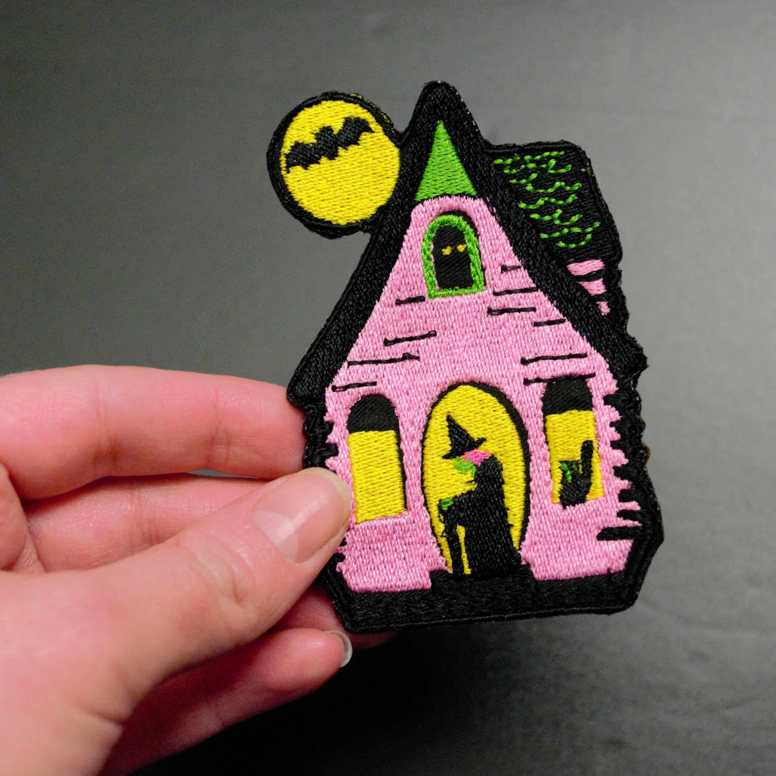 pink green witch house bat cat patch