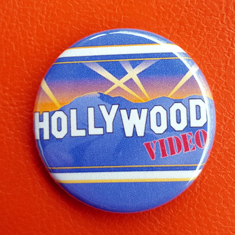 Vintage Vibe Hollywood Video 1.25 inch Pinback Button or Magnet