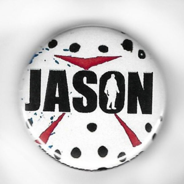 Jason Voorhees Mask Logo 1.25 inch Pinback Button or Magnet