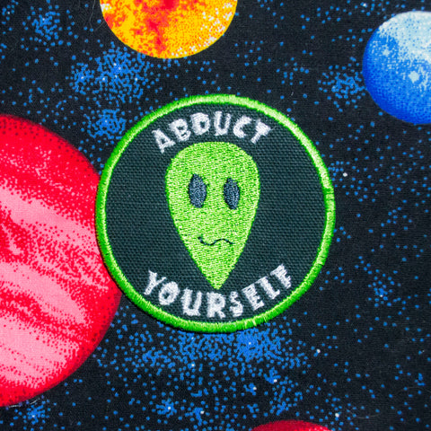 green alien embroidered iron on patch