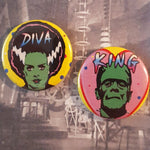 Load image into Gallery viewer, Diva and King Monsters Pinback Button or Magnet set