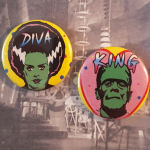 Diva and King Monsters Pinback Button or Magnet set