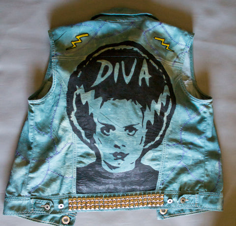Franken-Diva Upcycled Denim Vest