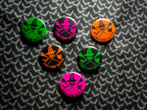 Junkyard Witch Club Pinback button. Orange, Magenta, Green