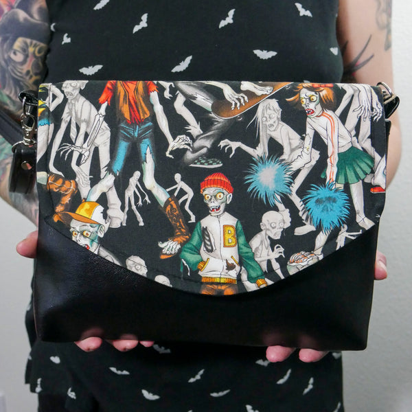 Zombie Horror Black Crossbody Purse