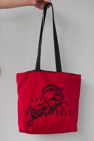 Red Live Deliciously Tote Bag