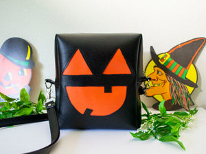 Bat Cute O' Lantern Pumpkin Box Purse - Black