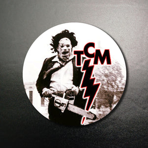 TCM Baby! Texas Chainsaw Massacre Leatherface Running Logo 1.25 inch Pinback Button or Magnet