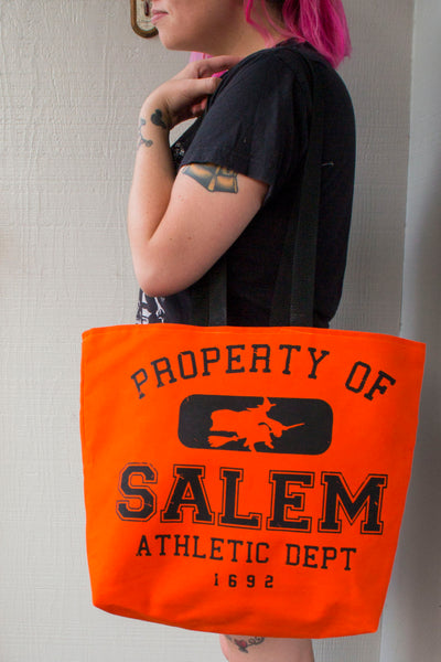 Orange Salem Witch Tote Bag